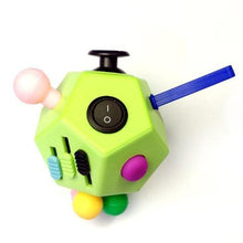 12 Sided Fidget Cube Green/Multi - Happy Hands Toys