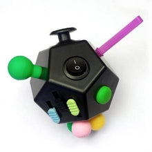 12 Sided Fidget Cube Black/Multi - Happy Hands Toys