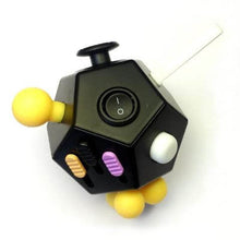 12 Sided Fidget Cube Black/Yellow/Pink - Happy Hands Toys