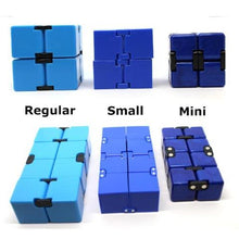 Photo Showing The Size Difference Of Regular, Small, Mini Infinity Cubes - Happy Hands Toys