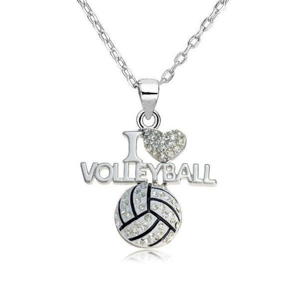 I Love Volleyball Heart Shape Pendant