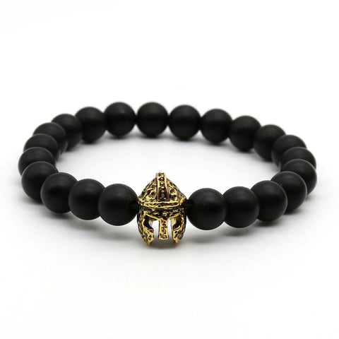 Spartan Warrior Helmet with Black Matte Stone Bead Bracelets