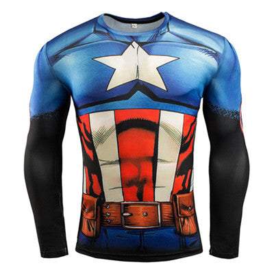 New 2017 Men's Fitness 3D Super Hero Compression Shirt Alternate