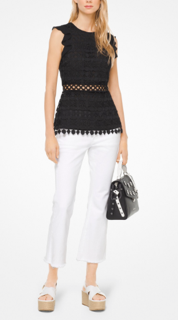 MICHAEL KORS - GEO LACE RUFFLE TOP - MS84LFL8RT