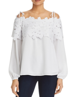 MICHAEL KORS - FLORAL LACE COMBO TOP - MS84LFM8KT