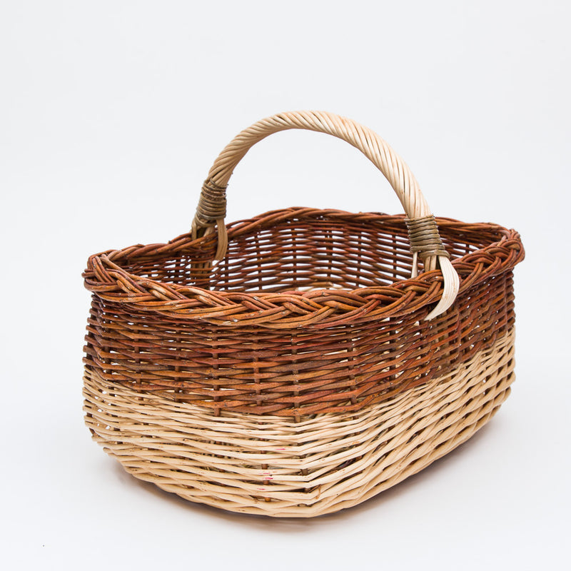 Short Handled Copper & Stripped Willow Shopper