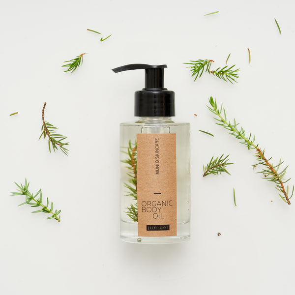 Juniper Organic Body Oil In Glass Pump Bottle
