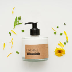 Marigold Organic Hand Lotion In Glass Pump Bottle