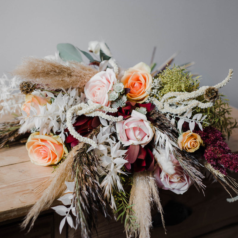 Luxury bouquets, bohemian bridal floristry, natural fresh and dried flowers, bespoke arrangements and wedding flowers