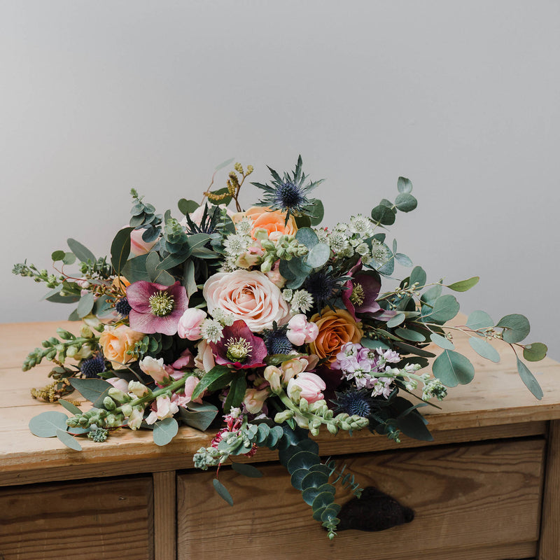 Luxury bouquets, bohemian bridal floristry, natural fresh and dried flowers and posies, bespoke arrangements and wedding flowers