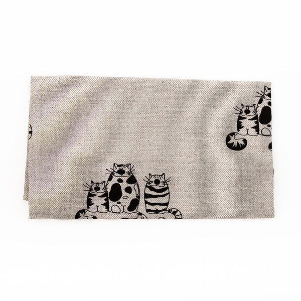 Cat Pattern Printed Linen Tea Towel