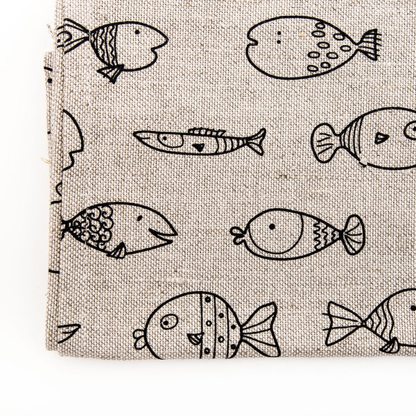 Fish Pattern Printed Linen Tea Towel