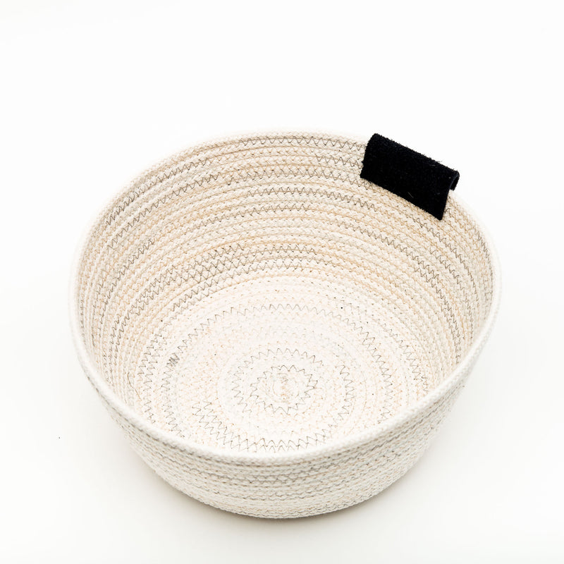Grey Blue Stitched Cotton Rope Basket With Leather Tab