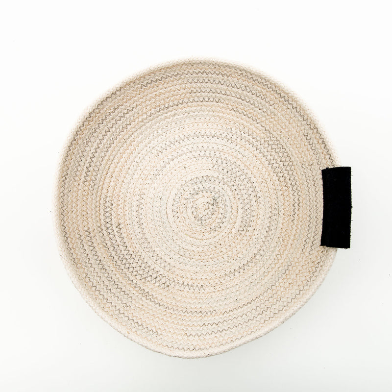 Open Cotton Rope Bowl With Leather Tab