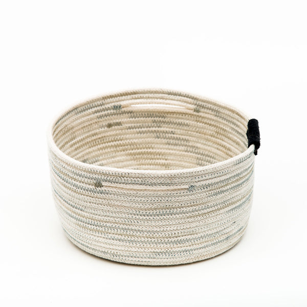 Straight Side Cotton Rope Basket With Leather Tab
