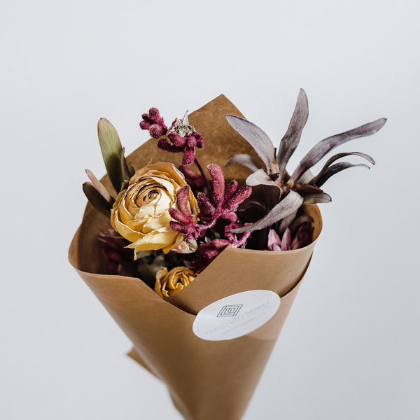 Hand tied natural dried flower posy Edinburgh