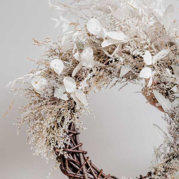Silver Grey Sea Spray Dried Floral Wreath