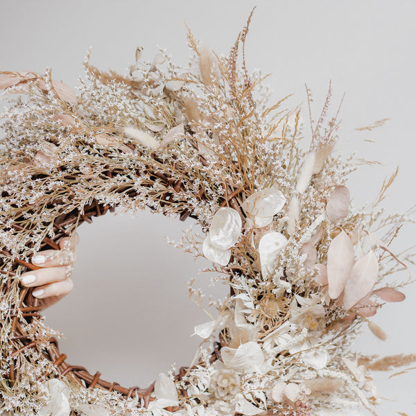 Palomino Wild Grasses & Soft Pink Dried Floral Wreath