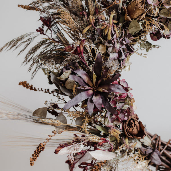 Wild Black Pampas & Dark Romance Dried Floral Wreath