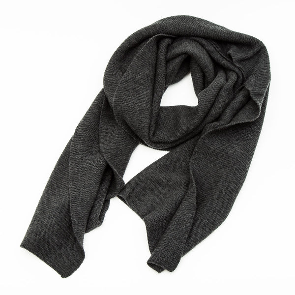 Charcoal Grey Merino Wool Purl Stitch Scarf