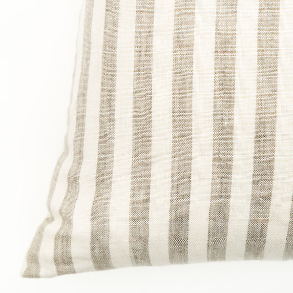Beach Stripe Small Natural Linen Cushion