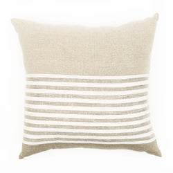 Oat & Beach Stripe Small Natural Linen Cushion
