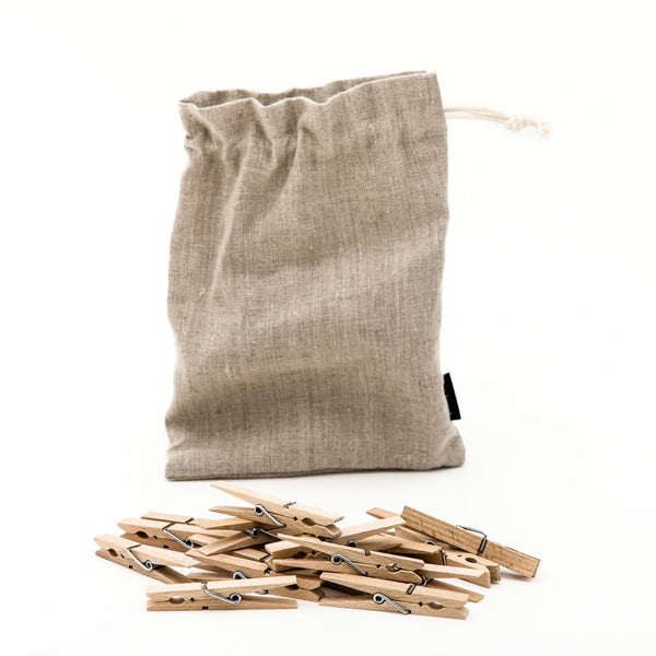 Wooden Clothes Peg & Natural Linen Bag
