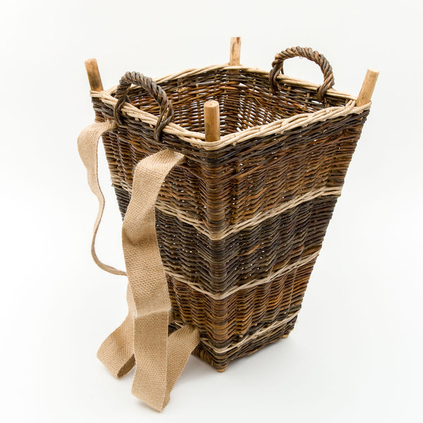 Small Slim Back Pack Basket In French Green Willow