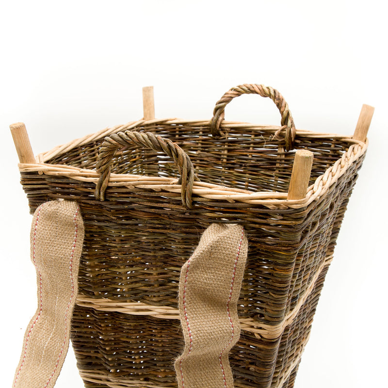 Medium Slim Back Pack Basket In French Green Willow