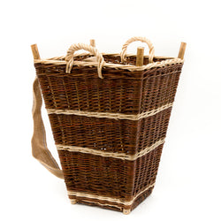 Medium Slim Back Pack Basket In Burnt Red Willow
