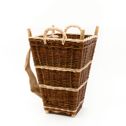 Small Slim Back Pack Basket In Burnt Red Willow