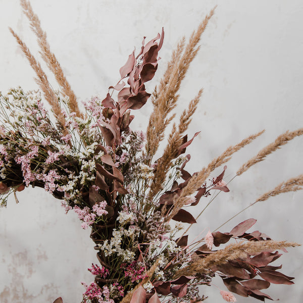 Dark Palomino Wild Grasses & Soft Ruby Dried Floral Wreath