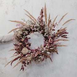 Dark Palomino Wild Grasses and Soft Ruby Dried Floral Wreath for online delivery