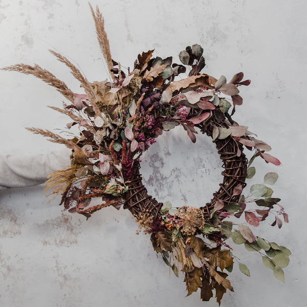 Dried Flower Wreath with wild pampas, rust and bramble