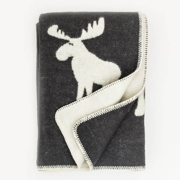 Double Weave Wool Blanket - Moose - Charcoal Grey - 200cm x 130cm