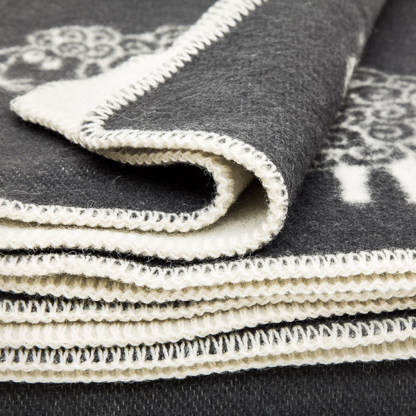 Double Weave Wool Blanket - Sheep - Charcoal Grey - 200cm x 130cm - Close up