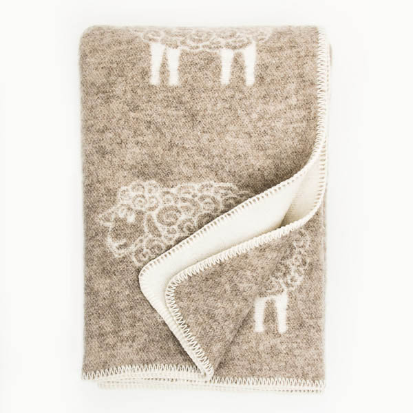 Double Weave Wool Blanket - Sheep - Oatmeal - 200cm x 130cm