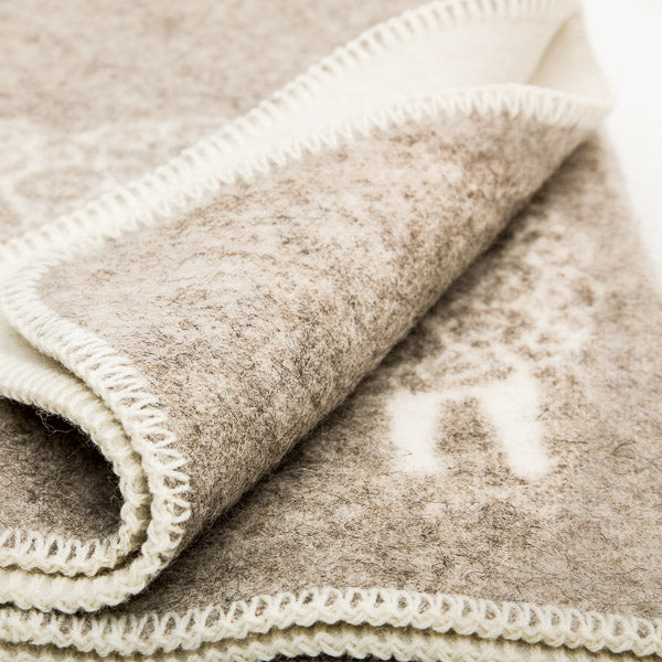 Double Weave Wool Blanket - Sheep - Oatmeal - 200cm x 130cm - Close up