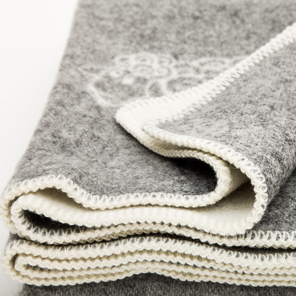 Double Weave Wool Blanket - Sheep - Nordic Grey - 200cm x 130cm - Close up