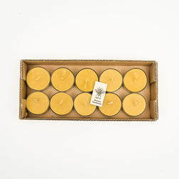 Large Beeswax Tea Candles in a Recycled Card Box