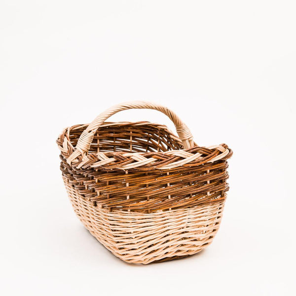 Short Handled Copper Willow Pleat Shopper - Handmade Willow Basket