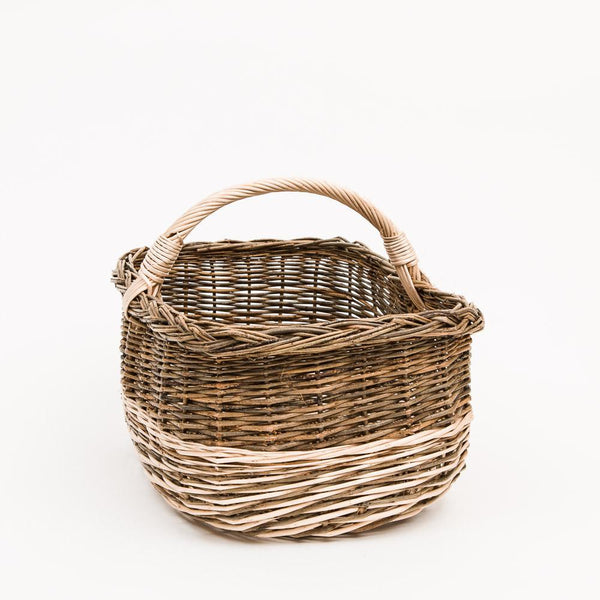 Short Handled Green French Willow Shopper - Handmade Willow Basket