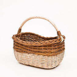 Long Handled Copper Willow Stripe Shopper - Handmade Willow Basket