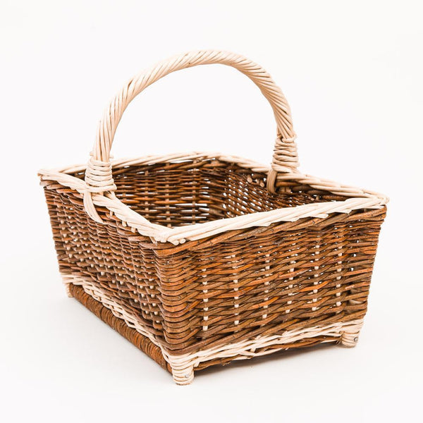 Straight Up Copper Willow White Detail Shopper - Handmade Willow Basket