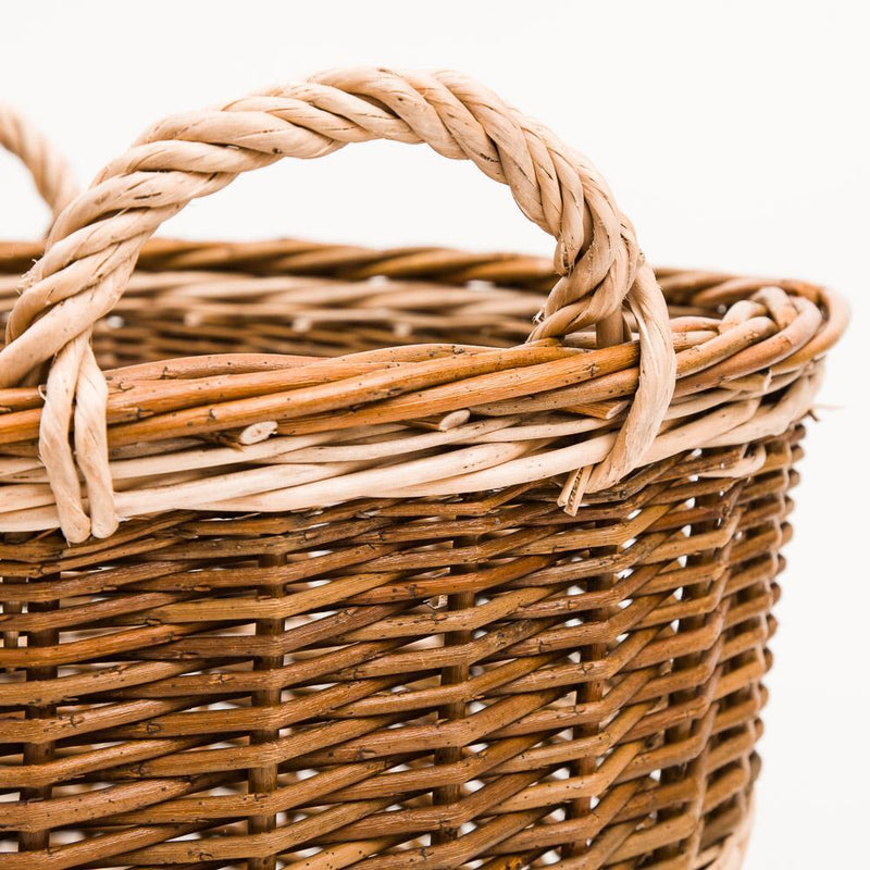 Traditional Green Willow Log Basket - Handmade Willow Basket