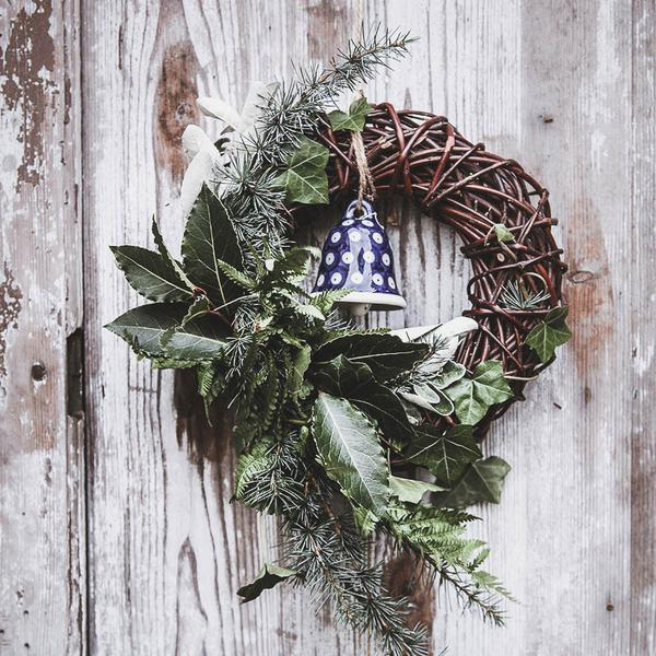 Pre Order Your Festive Asymmetrical Greenery Wreath On Willow Base