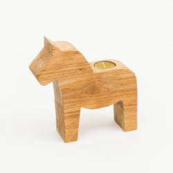 Large Wooden Dala Horse Candle Holder