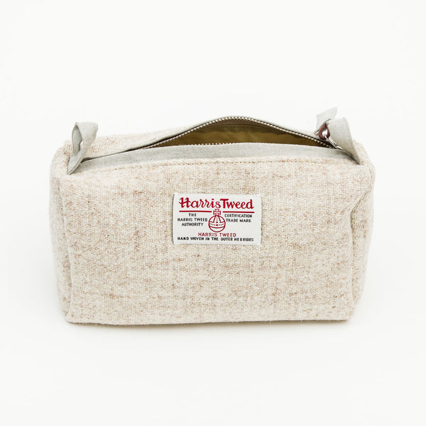 Harris Tweed Wash Bag in Cream