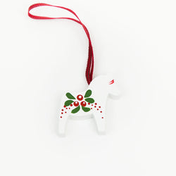 Painted White Dala Horse Decoration