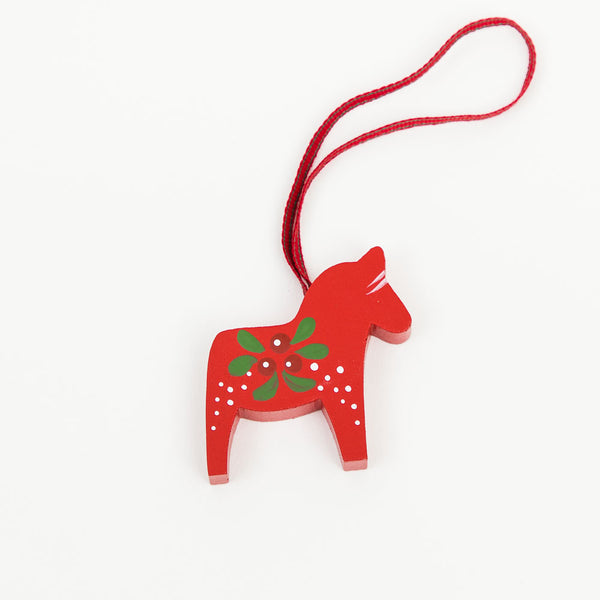Painted Red Dala Horse Decoration